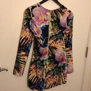 Morning Mist Dresses - Deep V long sleeve floral dress